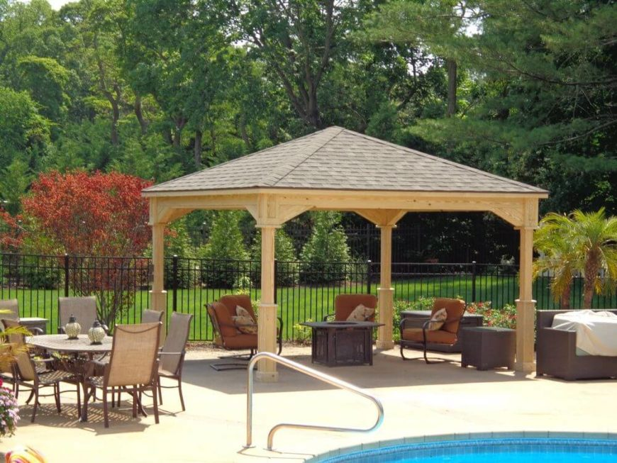 Here is a simple pavilion by a pool. This pavilion is a great pavilion for any yard. It can be placed in a spot and left there for some time, but can also be moved if your needs change or if you want to rearrange your outdoor design.