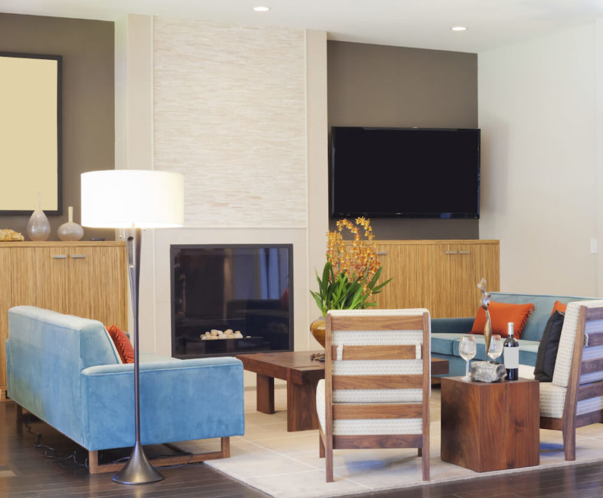 Electric fireplaces tend to be much less imposing, but are still available when you'd like to turn them on.