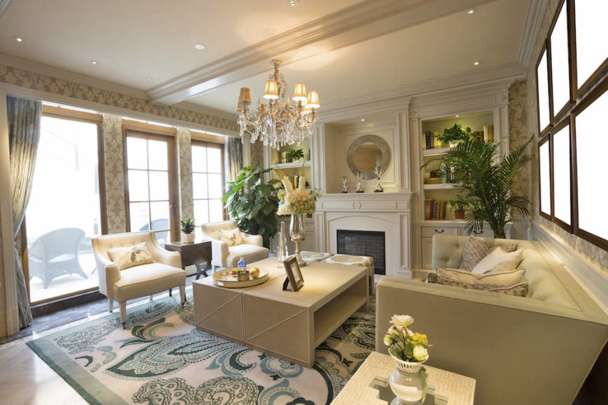 Chandeliers are an elegant way to light a room, although they usually require recessed lighting or table lamps to offset the central lighting.