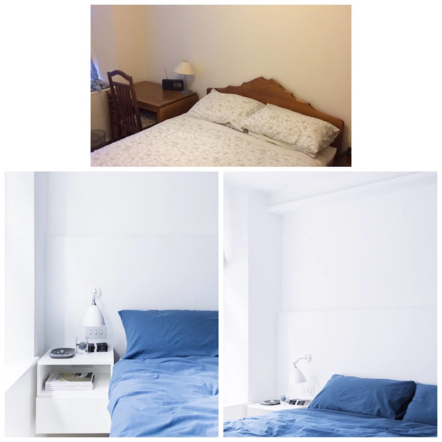 Here we see how the complete color palette shift has resulted in a sleek, modern, and much more welcoming primary bedroom.