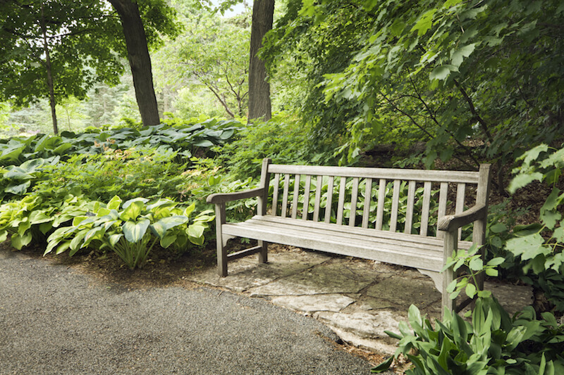 Here is a nice bench with simple lines that fits great on the side of a footpath. It is a welcoming place to sit where any passerby would love to take a break and enjoy the wonderful scenery.