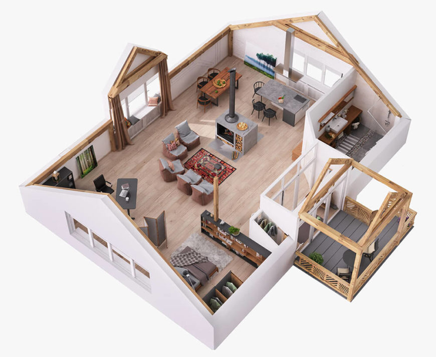 We begin our gallery with this computer model overview of the interior, showcasing exactly how complete the open plan design is. With the exception of the bathroom, there are no interior walls.