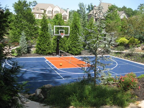Concrete is ideal for a court that can double as a basketball court. Removing the tennis net is quick and easy. In only a moment your tennis court can host a pickup basketball game.