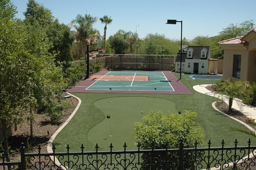 If you have a tennis court and want to play at night you may need to light the area. A large lamp post pointed down to the court is a simple and effective way to achieve this.