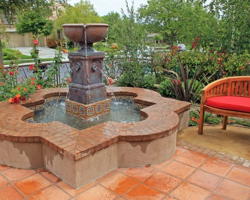 Here is a concrete fountain and birdbath. This large fountain can fit many birds. The continued motion of the water keeps if from growing stagnate. Birds always appreciate fresh water.