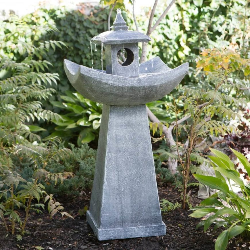 This interesting and unique concrete fountain is shaped like a Japanese lantern. This lends style while giving your birds a nice place to splash and bathe.