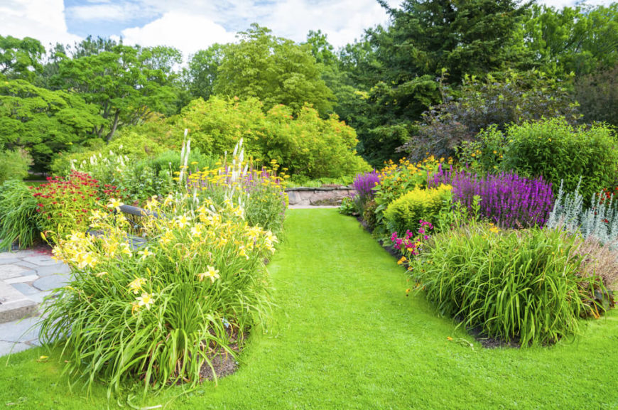 These gardens contain lush and full perennial bushes. Perennial bushes are great options for filling garden space with dynamic and interesting flowers.