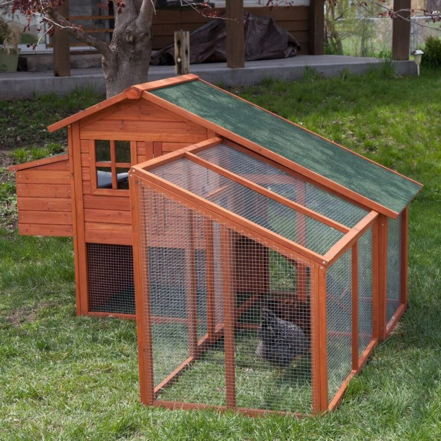Here's another sharply angled, crisply constructed chicken coop. This ready-made model features a large wire mesh outdoor area for grazing, as well as an elevated roosting space.