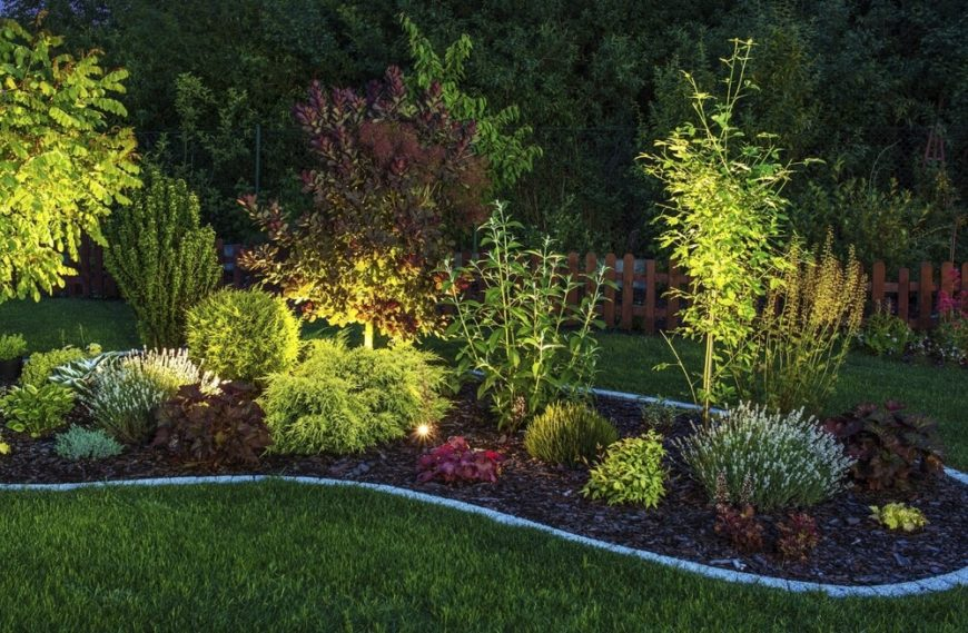 If you want your garden to be well lit at night you can install well lighting into your garden. Well lighting highlights your plants from underneath, giving your garden a nice glowing quality.