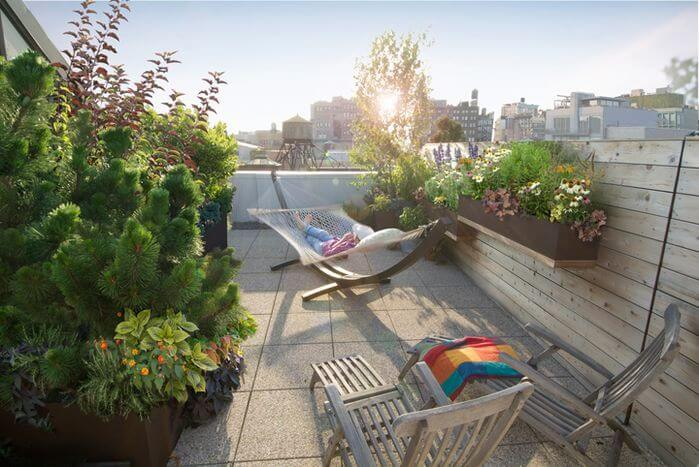 If your space is city-locked, a lush plant garden can bring nature back to into your life. A tall and wide bed of green plants can turn your urban patio into the rustic countryside.