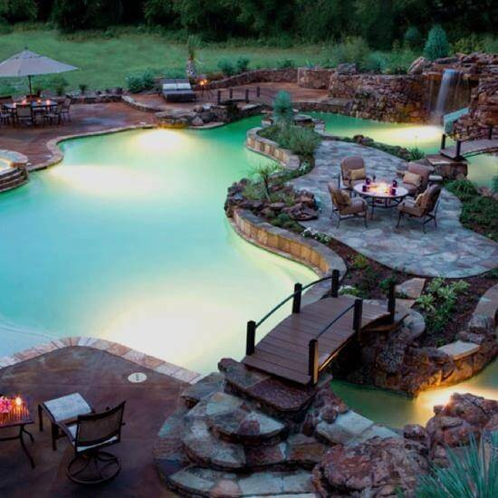 Underwater lighting as seen in this pool here is great for making sure your backyard water park can stay open as late as possible. Normal water parks often close as the sun goes down, but you can leave yours open all night.