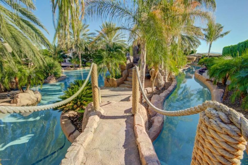 If you have bridges in your pool area you might as well make them fun. Here is a bridge with rope railings and rope wrapped around the posts. These give the bridge and the park a nautical boat feel.