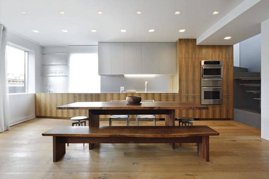 Lovely picnic style dining table in the modern kitchen.