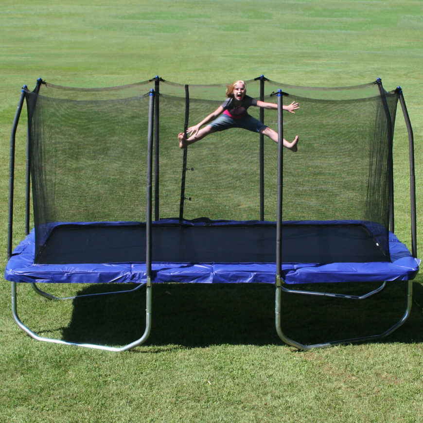 Not all trampolines are round. Here is a nice long rectangular trampoline. Different shaped trampolines are good for fitting into different spaces while accommodating more people.