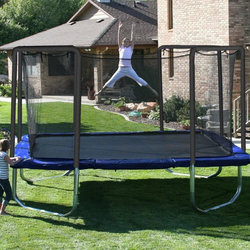 Here is a large rectangular trampoline with a safety net. The construction of this trampoline is thick and sturdy, ensuring this model will last quite some time. Depending on the extent of use you may want to consider the sturdiness of your choice of trampoline.