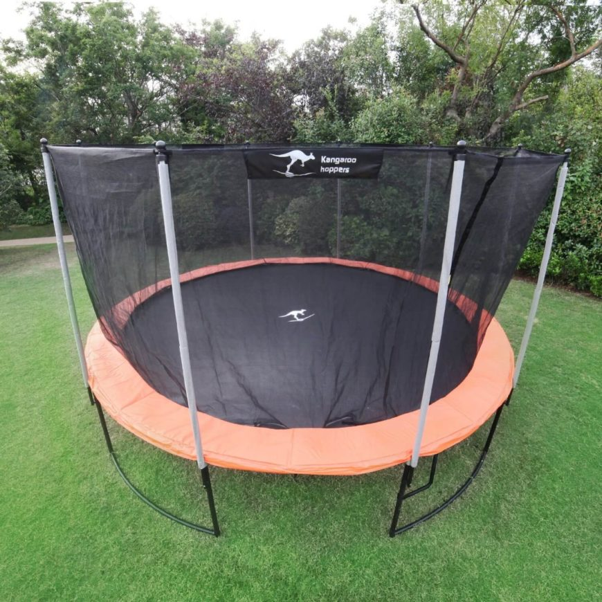 Here is a great trampoline with sturdy safety nets. This trampoline would look at home in any backyard and is good for anyone interested in that extra element of fun for their backyard.