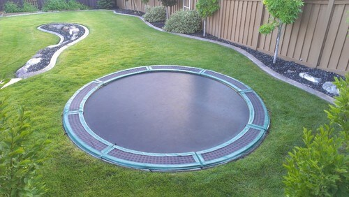 One good way to reduce the chance of injury is to bury the trampoline. This makes the fall distance much shorter if you are unable to stay on. This trampoline is buried to the rim making it seamless with the ground.