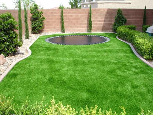 Even in minimal yard space a trampoline can be an amazing accessory. This buried trampoline works great in this compact yard, making the perfect addition of fun. Buried trampolines also get around the mowing problem.