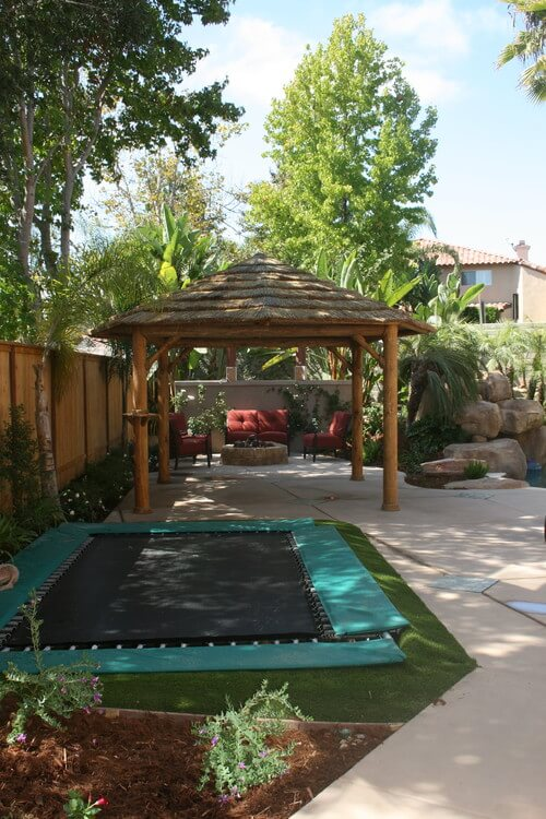 One of the common safety measures that many trampolines have are a covering over the springs. Some of these covers are a simple vinyl covers. This trampoline has large padded covers which protect jumpers even more.
