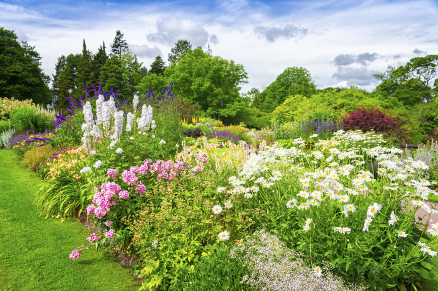 Large gardens are great for transitioning your yard into your landscaping. If your property is on the edge of the woods, your large garden can work as a buffer between the trees and your lawn.
