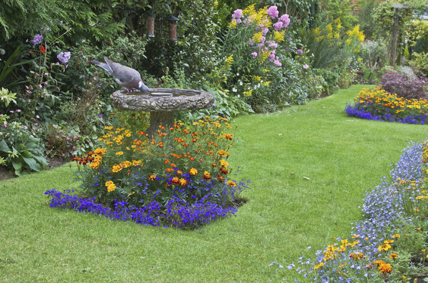 When you dedicate some of your space to a large garden it doesn't mean you can't have small gardens as well. You can have matching small gardens around smaller features such as statues and birdbaths.