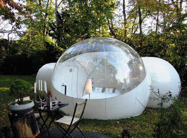 Here is a wonderful clear top dome with a bed inside. This is the most relaxed you can get while watching the stars swirl above you. There is no better way to spend a clear night.