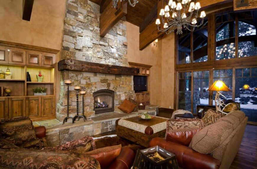 Stone fireplace in rustic style living room.