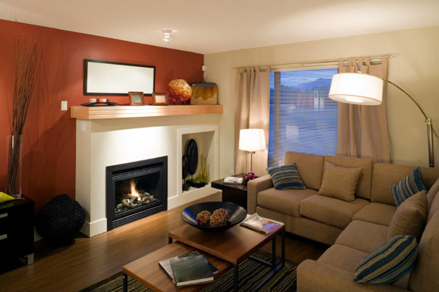 Contemporary living room with a gas fireplace.
