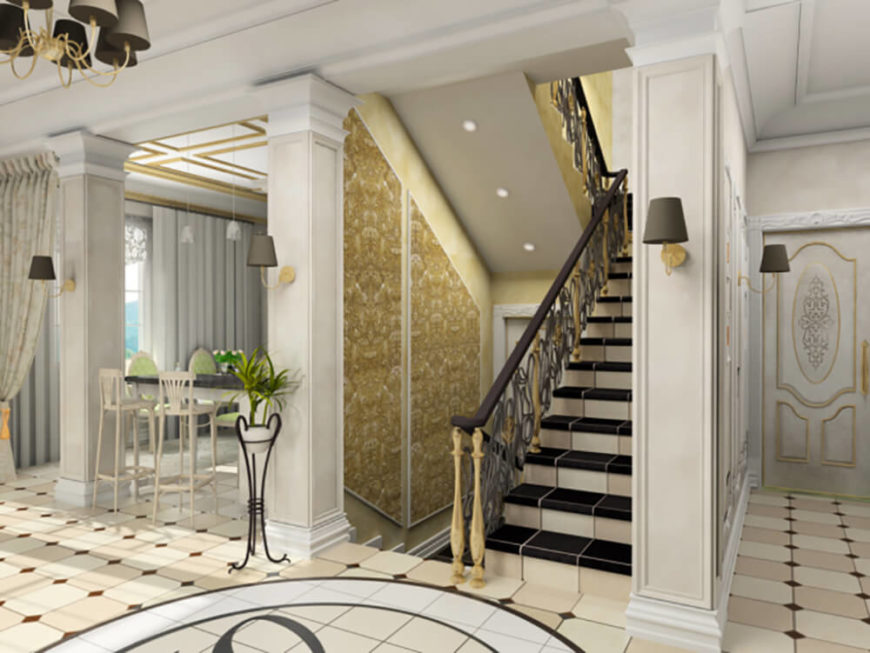 Opulent staircase that is fully enclosed and tiled.