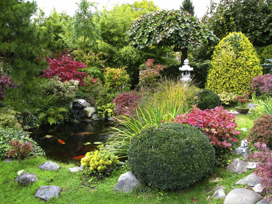 Japanese garden with a large koi pond.