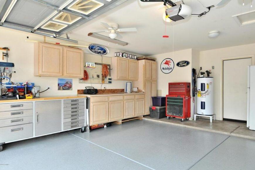 Inside of a well-organized garage.