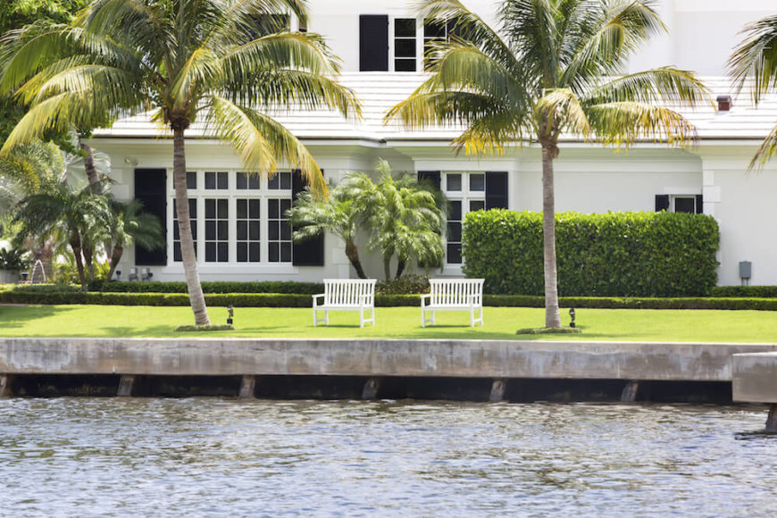 These palms stand on either side of a pair of matching benches on the waterfront. This is the perfect tropical style for sitting back, relaxing, and looking out over the water.