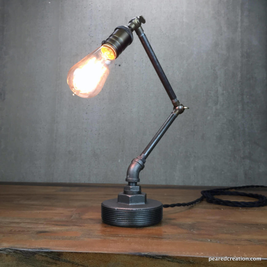 This elegant industrial task light will fit in a variety of rooms including bedrooms and home offices. The entire fixture is adjustable and features antique brass fittings. The bulb is dimmable, so you can get the best lighting.