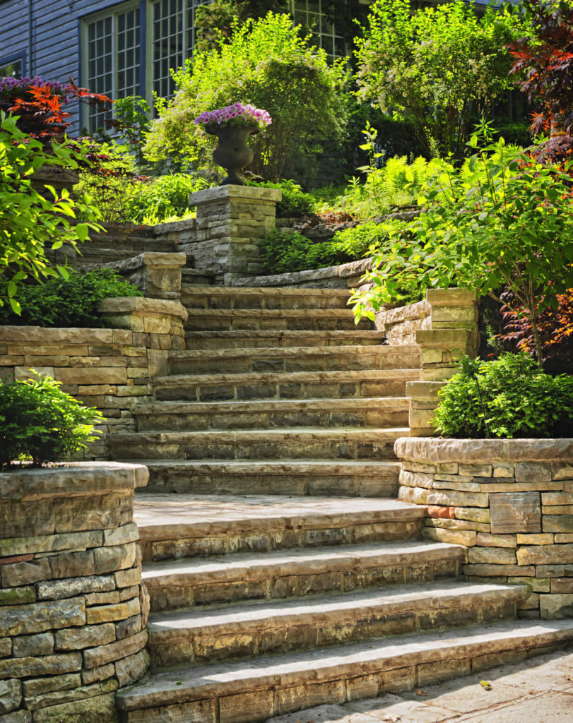 With well constructed masoned walls accompanying your stone steps you can build a very classy landscape. Great complimenting gardens to your stairway can be a thing to behold.