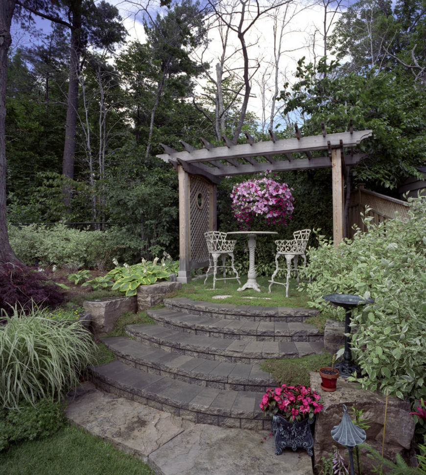 Stone steps can lead to anything. They can connect gardens to patios or nice outdoor eating spots to the rest of the yard.