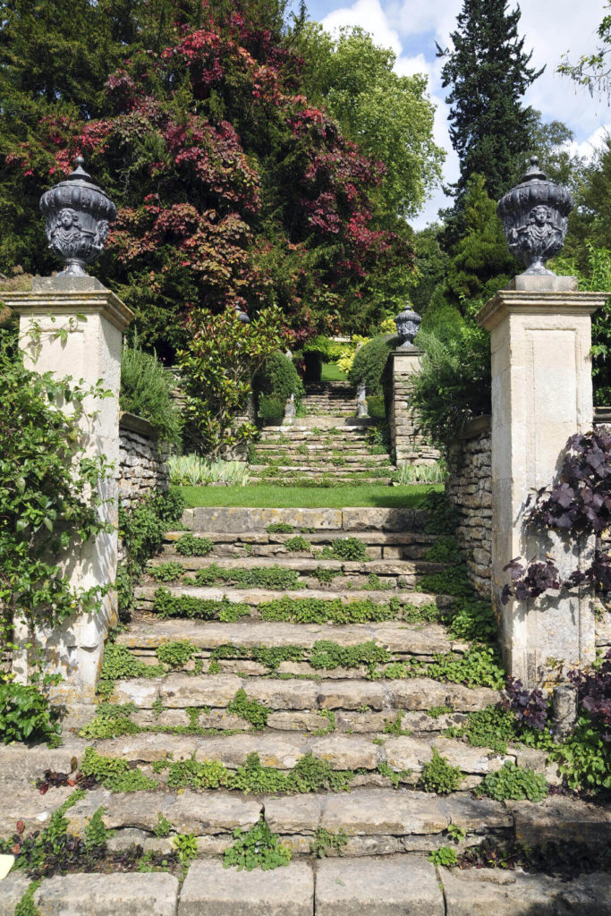 If you have a well assembled stone staircase that harkens back to ancient Grecian construction you can let weeds and moss grow to create an aged look that has character and history.