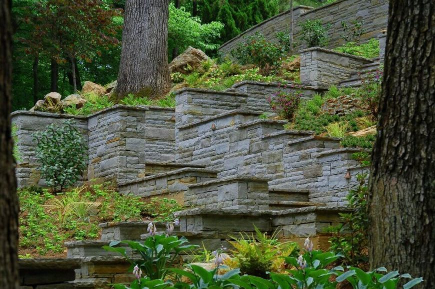 Here are some fantastic stone steps with tall stone walls. These kinds of walls give your steps an extra bit of class.