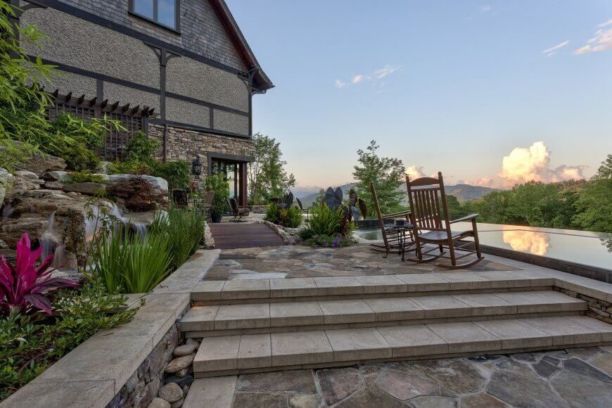 Here is a beautiful high end patio with sleek and finely carved stone steps. These stone steps are fantastic and will last for quite some time.