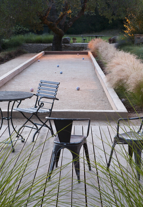 This lovely bocce ball court sits right off of the deck. It is a perfect place for the court as the deck is a marvelous area to hang out. This gives you a great opportunity to start a casual round of bocce ball anytime you and your friends are relaxing on the deck.