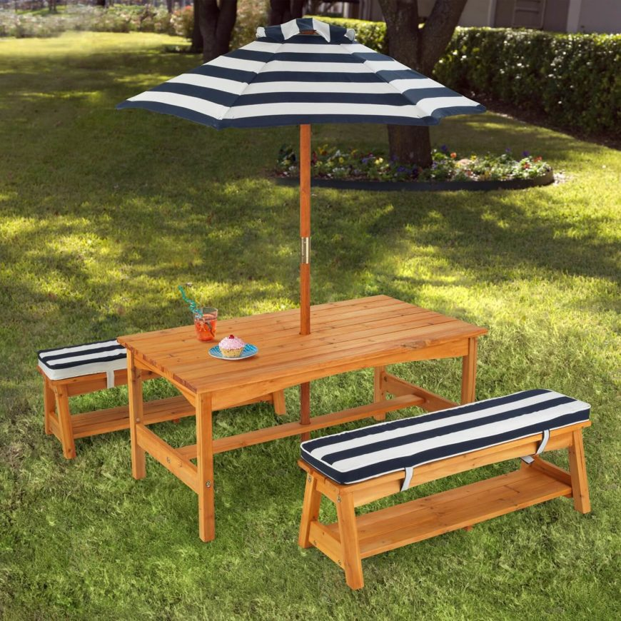 This fun picnic table with detached benches uses a nice umbrella feature to add some shade and comfort. Speaking of comfort, these seats are padded for an extra touch of cozy relaxation.
