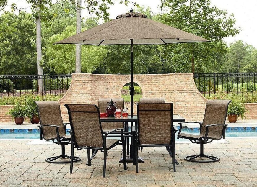 Here is a pleasant patio set that has 6 chairs and an umbrella to keep you cool on warm days. This is the type of patio set that is perfect for poolside get togethers and cookouts.