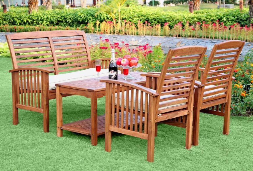 Some sets of patio furniture can incorporate different kinds of pieces. Some may have coffee tables while others have taller dining room style tables. This patio set also includes a bench as well as two matching chairs.