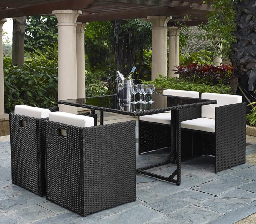 This patio set has a great minimalist design. The clean and simple lines of this set are not overly designed or showy. They are highly functional while still comfortable.