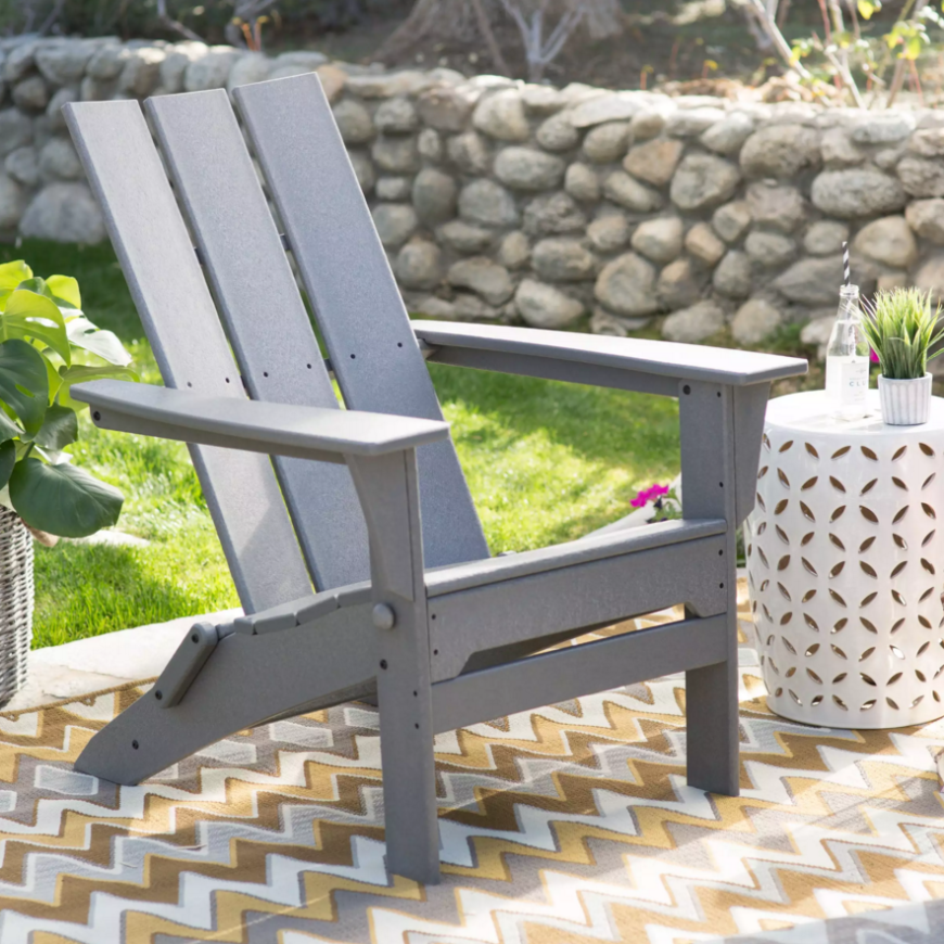 This chair allows you to lean back while poolside or while out on your patio enjoying the nice sunny weather. The polywood construction is sturdy and can withstand the elements, making this chair long lasting.