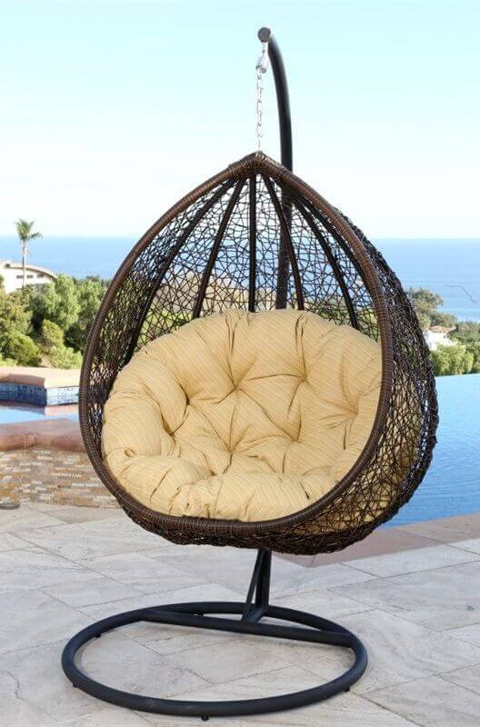A simple one person swing can be an enjoyable and personal experience. This basket chair swing has a single point of attachment, giving it a nearly 360° direction of swing ability. You can swivel, turn, and swing in this fun suspended chair.