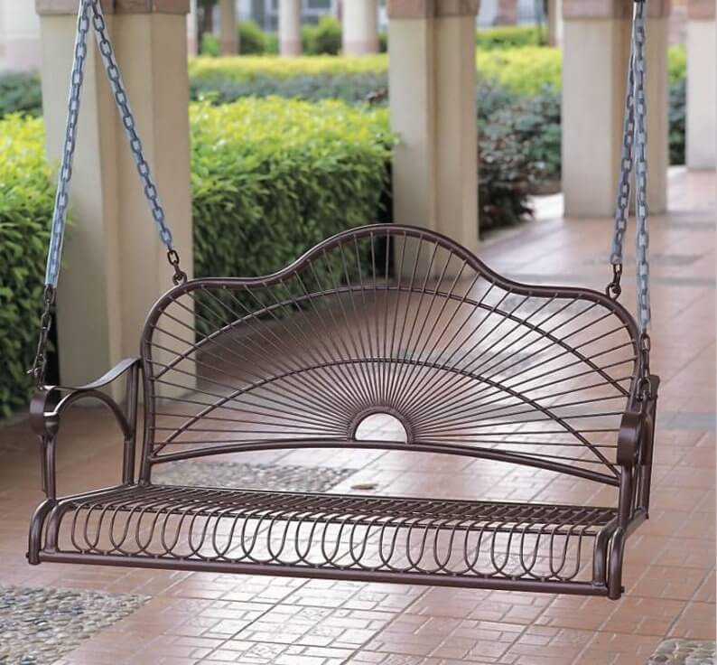 Swings can be made from a wide range of different materials. This swing is made from metal and has a fantastic design element that will surely increase the appeal of your porch.