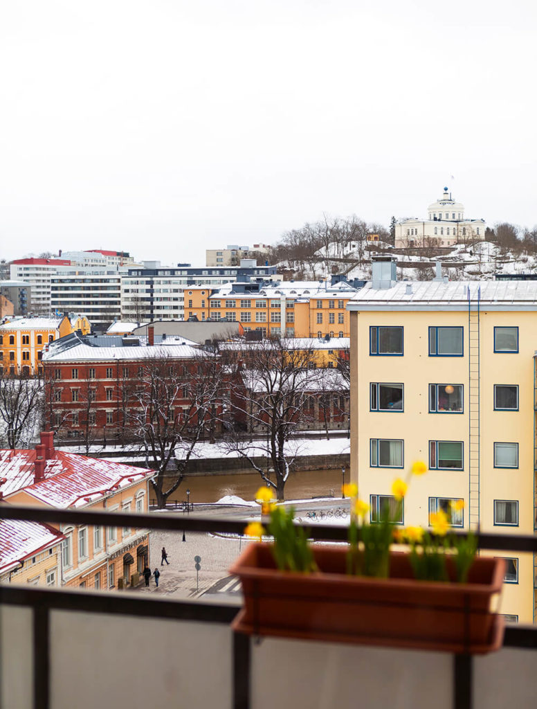 Finally, we leave you with the view from the large apartment windows over historic Turku, Finland.