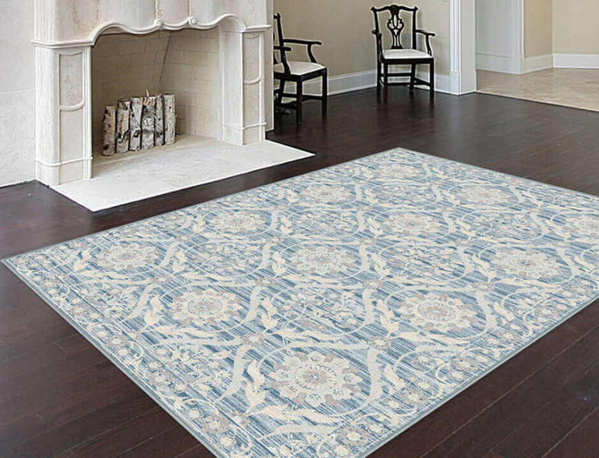 Accent any décor with this light blue baroque style rug. This opulent rug is ideal for adding elegance near a fireplace or dining area.