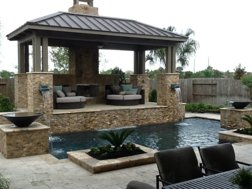 With a large gazebo such as this one you can fill the space underneath with relaxing furniture. A permanent gazebo can also accommodate a feature like a fireplace.