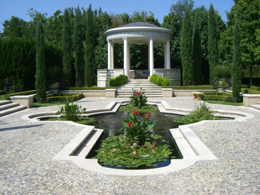 Here is a fabulous gazebo overlooking some great landscaping. This gazebo is a great focus for this space.
